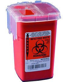 Buy Phlebotomy Sharps Container, Red 1 Quart by Kendall Healthcare from a SDVOSB | Sharps Containers