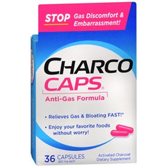 Buy CharcoCaps Activated Charcoal Anti-Gas Detoxifying Formula online used to treat Gas and Bloating Relief - Medical Conditions