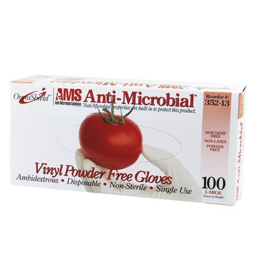 Antimicrobial Disposable Clear Vinyl Gloves 100/Box - Antimicrobial Gloves - Mountainside Medical Equipment
