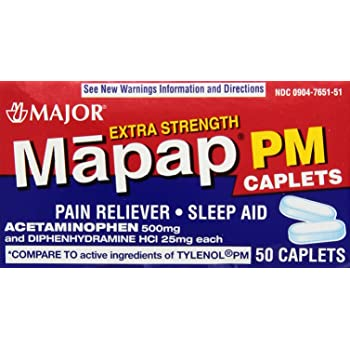 Acetaminophen PM Caplets 500mg Extra Strength 50 Count - Pain Relievers - Mountainside Medical Equipment