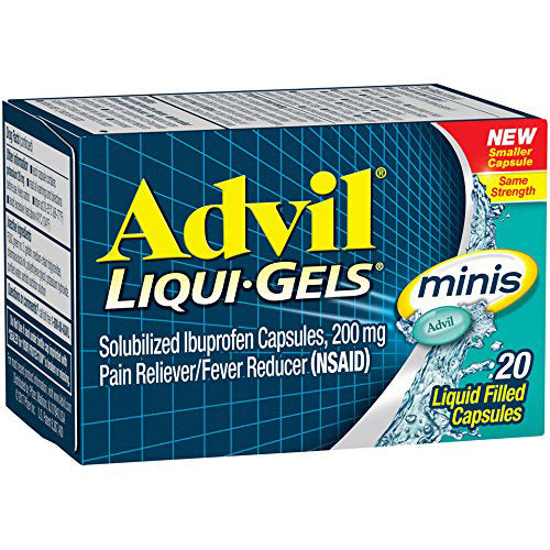 Advil Liqui-Gels Minis, 20 Liquid Filled-Capsules, Ibuprofen 200mg - Pain Relief Medicine - Mountainside Medical Equipment