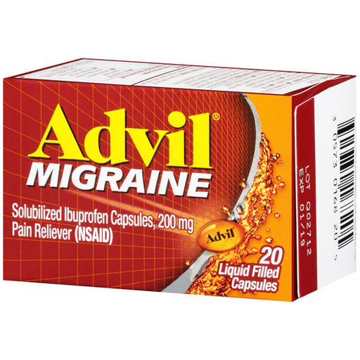 Advil Migraine Liquid-Gel Caps. 200mg (20 Count) - Pain Relief Medicine - Mountainside Medical Equipment