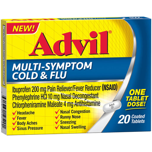 Advil Multi-Symptom Cold & Flu Medicine (20 Count) Coated Tablet, 200mg Ibprofuen - Cold and Flu Medicine - Mountainside Medical Equipment