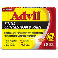 Advil Sinus Congestion and Pain Relief Medicine, Ibuprofen 200mg, (10 Count)