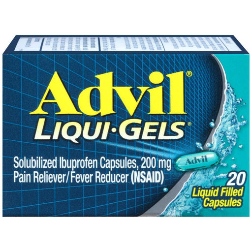 Advil Liqui-Gel Caps, 200mg Easy-to-Swallow Pain Relief Gelcaps, 20 Count - Pain Relief Medicine - Mountainside Medical Equipment