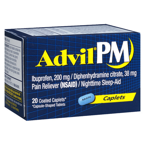 Advil PM Nightime Sleep and Pain Relief Medicine, 20 Coated Caplets