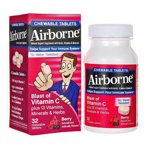 Airborne Immune Support Chewable Tablets Berry 32 Count - Immune System Support - Mountainside Medical Equipment