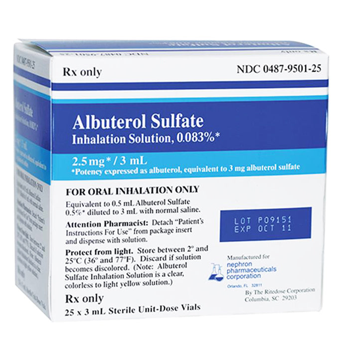 Buy Albuterol inhalation Solution 0.083%, 3mL, 25/Box online used to treat Inhalation Solution - Medical Conditions