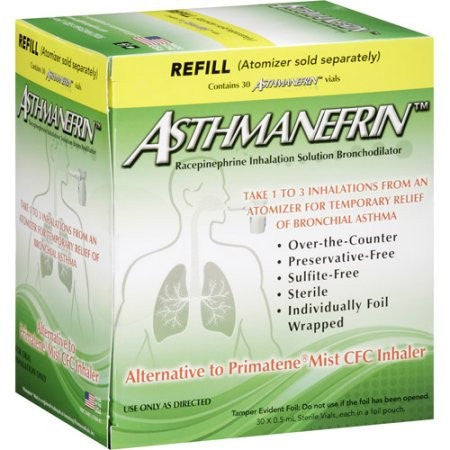 Asthmanefrin Racepinephrine Asthma Inhalation Solution Bronchodilator Refill Vials, 30 count - Asthma - Mountainside Medical Equipment