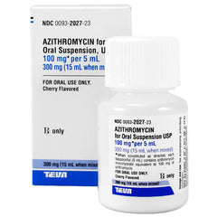 Azithromycin Oral Suspension Solution 100mg by Teva