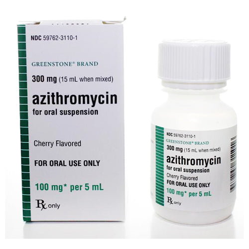 Azithromycin Oral Suspension Solution 100mg, Cherry Flavor by Greenstone