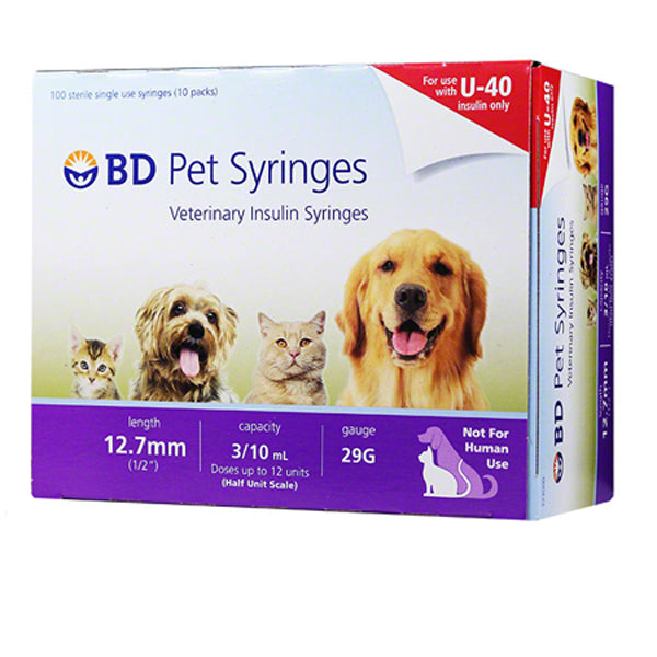 "Buy BD U‑40  Veterinary Insulin Syringe 29 gauge x 3/10 mL"", 100/Box online used to treat Pet Insulin Syringes - Medical Conditions"
