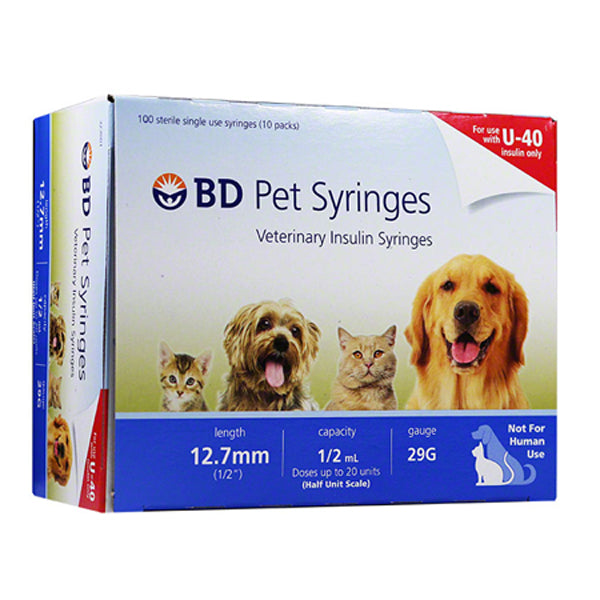"Buy BD U‑40  Veterinary Insulin Syringe 29 gauge x 1/2"", 100/Box online used to treat Pet Insulin Syringes - Medical Conditions"