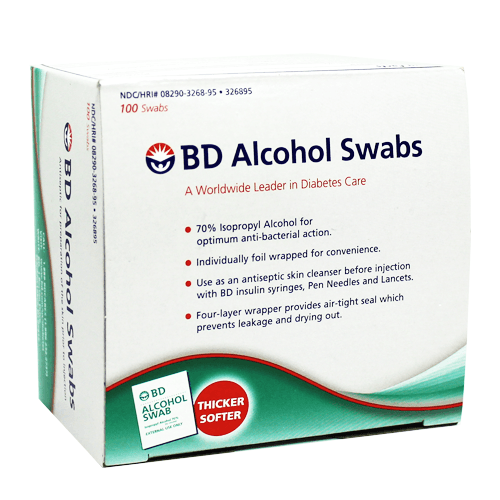 BD Alcohol Swabs (Prep Pads) 100/Box