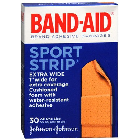 Buy Band-Aid Sport Strips Extra Wide 30 Per Box used for Adhesive Bandages by Band-Aid