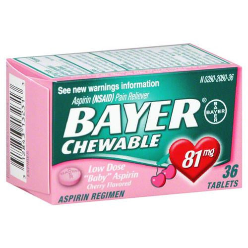 Bayer Low Dose Aspirin Pain Reliever, 81mg, Chewable Cherry