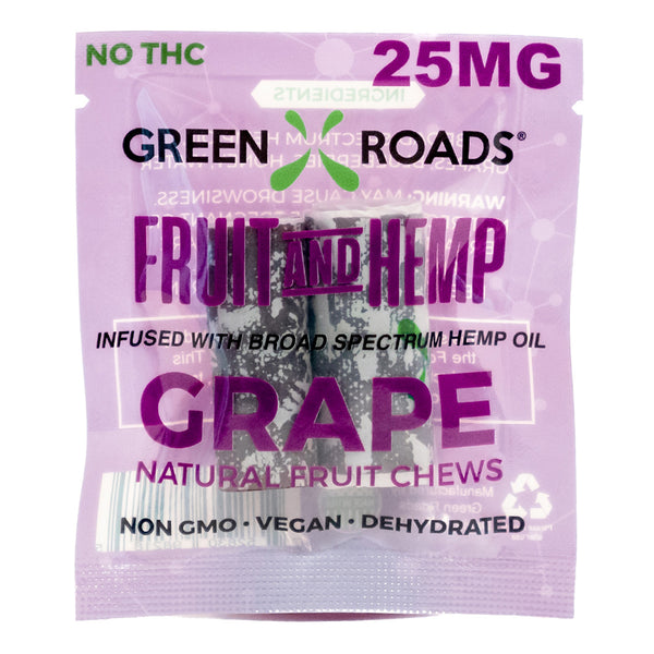 CBD Fruit and Hemp Fruit Chews Infused with High-Grade Cannabidiol 25 mg Grape (2-Pack)