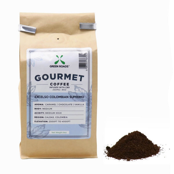 Gourmet CBD Infused Coffee 16 oz Large Bag, Medium Roast, Carmel, Choclate, Vanilla Aroma