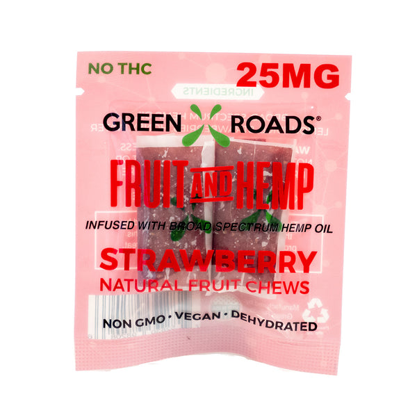 CBD Fruit and Hemp Fruit Chews Infused with High-Grade Cannabidiol 25 mg Strawberry (2-Pack)