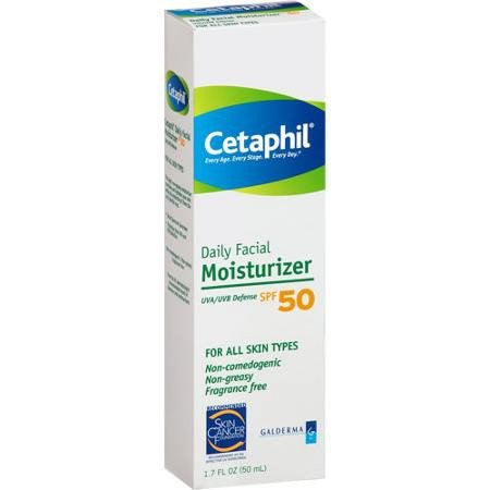 Cetaphil UVA/UVB Defense Daily Facial Moisturizer Sunblock SPF 50 Skin Cancer Prevention