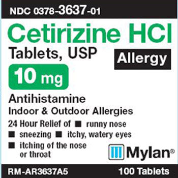 Mylan Cetirizine HCI 10mg Allergy Relief Tablets, Tablets, 100 Count (Compare to Zyrtec)
