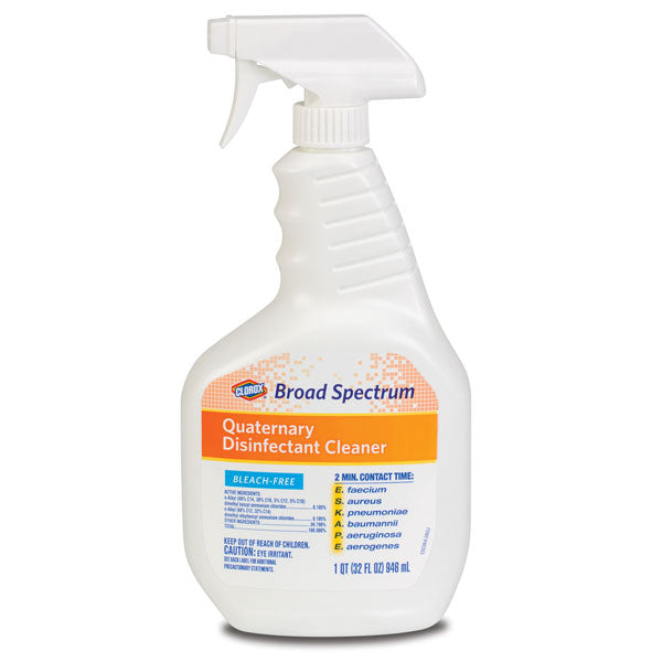 Bleach-Free Clorox Broad Spectrum Quaternary Disinfectant Cleaner 32 oz (1 Quart) - Disinfectant Spray - Mountainside Medical Equipment