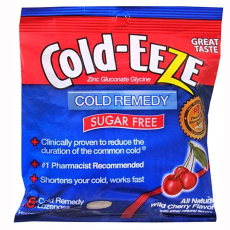 Cold-EEZE Sugar Free Wild Cherry Flavor Cold Remedy Lozenges, 18 count