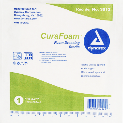 CuraFoam Foam Dressings, Sterile 10/Box