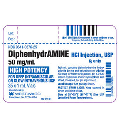 Buy Diphenhydramine for Injection 50mg/1 mL Vials, 25/Tray online used to treat Antihistamine - Medical Conditions