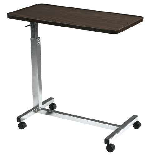 Adjustable Non-Tilt Overbed Table with Walnut Top