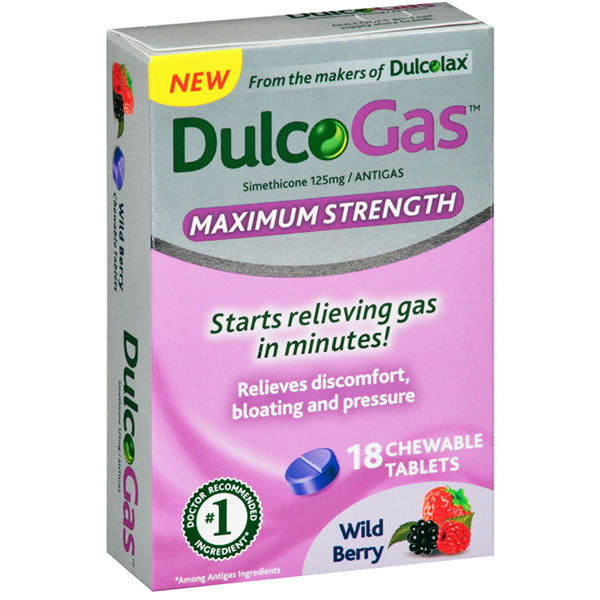 Buy Dulcogas Maximum Strength Chewable Antigas Tablets, Wild Berry online used to treat Gas and Bloating Relief - Medical Conditions