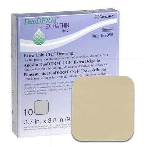 10-Pack Duoderm Extra Thin 4x4 Dressings - Hydrocolloid Wound Care Dressing - Mountainside Medical Equipment