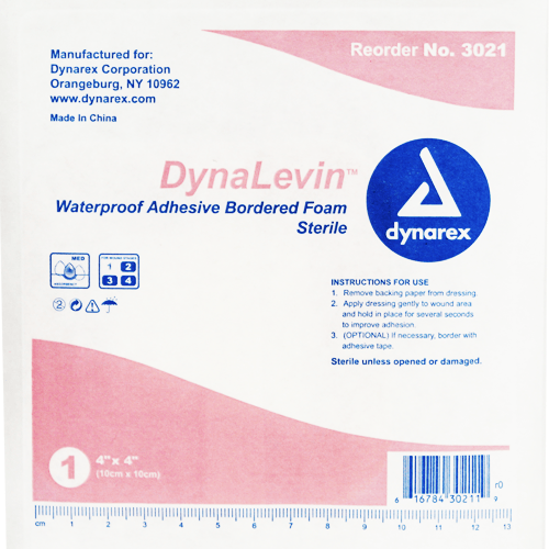 Dynalevin Waterproof Adhesive Foam Dressings, 10/Box