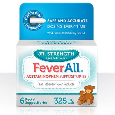 Buy Feverall Acetaminophen 325mg Pain Relief Suppositories online used to treat Suppositories - Medical Conditions