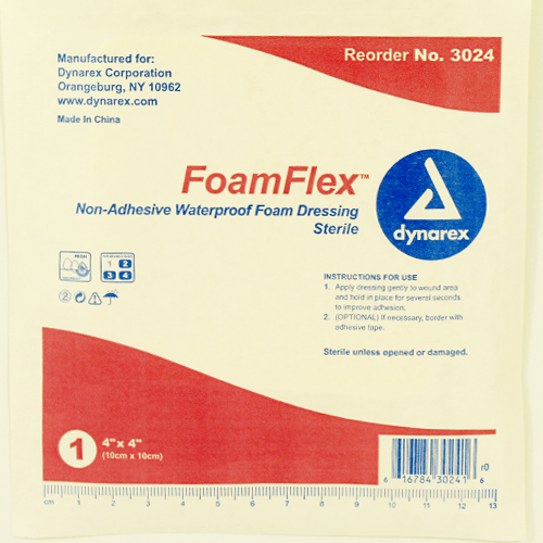 FoamFlex Non-Adhesive, Waterproof Foam Dressings, 10/Box