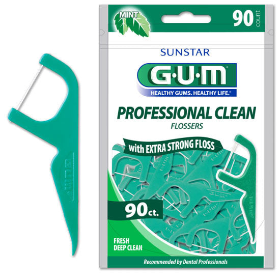 GUM Eez-Thru Extra Strong Flossers,  Fresh Deep Mint, 90/Pack