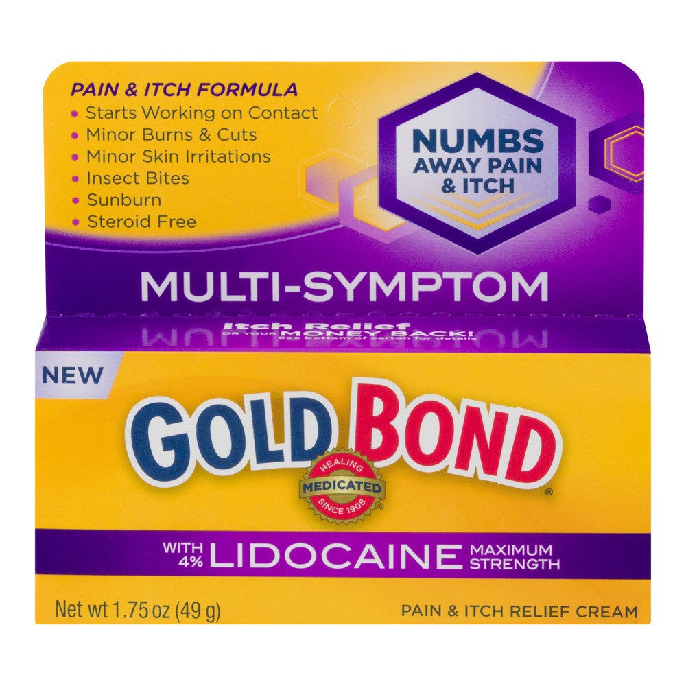 Buy Gold Bond Multi-Symptom Pain & Itch Relief Cream with 4% Lidocaine online used to treat Pain and Itch Relief - Medical Conditions