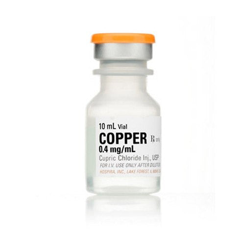 Hospira 10 mL Copper (Cupric Chloride) Injection, 25/Tray - IV & Irrigation - Mountainside Medical Equipment
