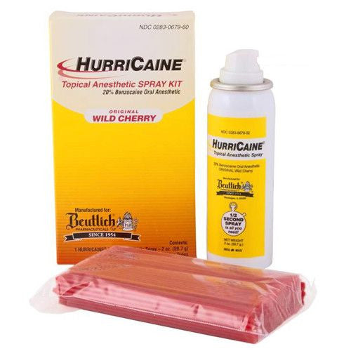 HurriCaine Topical Anesthetic Pain Spray Kit with 200 Extension tubes