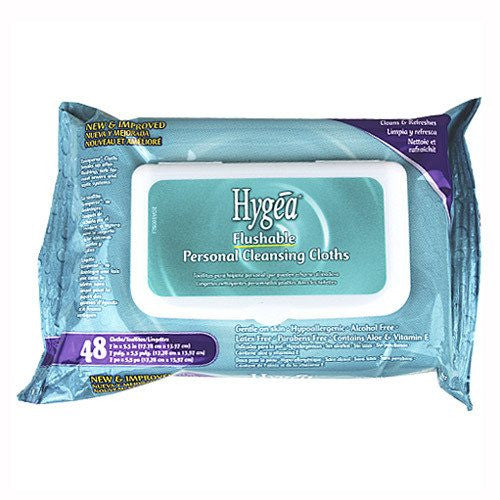 Hygea Flushable Personal Cleansing Cloth Wipes, 48/Pk - Wet & Dry Wipes - Mountainside Medical Equipment