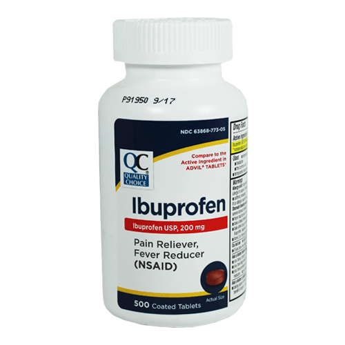 Ibuprofen 200mg Tablets 500 Brown Coated Bulk Bottle - Pain Reliever - Mountainside Medical Equipment