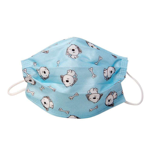Kids Face Mask for Children, Blue with Dogs and Bone Print - Kids Protective Face Masks - Mountainside Medical Equipment