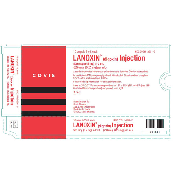 Lanoxin (digoxin) for Injection Adult, 10 Ampuls, 2 mL