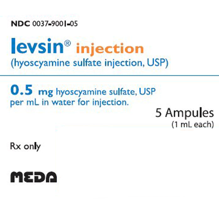 Buy Levsin for Injection (Hyoscyamine Sulfate) 0.5mL, 5 Ampules online used to treat Irritable Bowel Syndrome Treatment - Medical Conditions