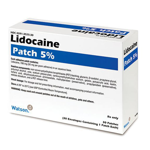 Lidocaine Patch 5% by Watson 30/Box - Lidocaine Patch - Mountainside Medical Equipment