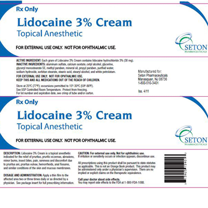 Lidocaine Cream 3% Topical Anesthetic 85 grams by Seton