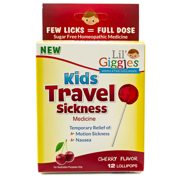 Lil' Giggles Kid's Medicated Travel Sickness Lollipops Cherry Flavor