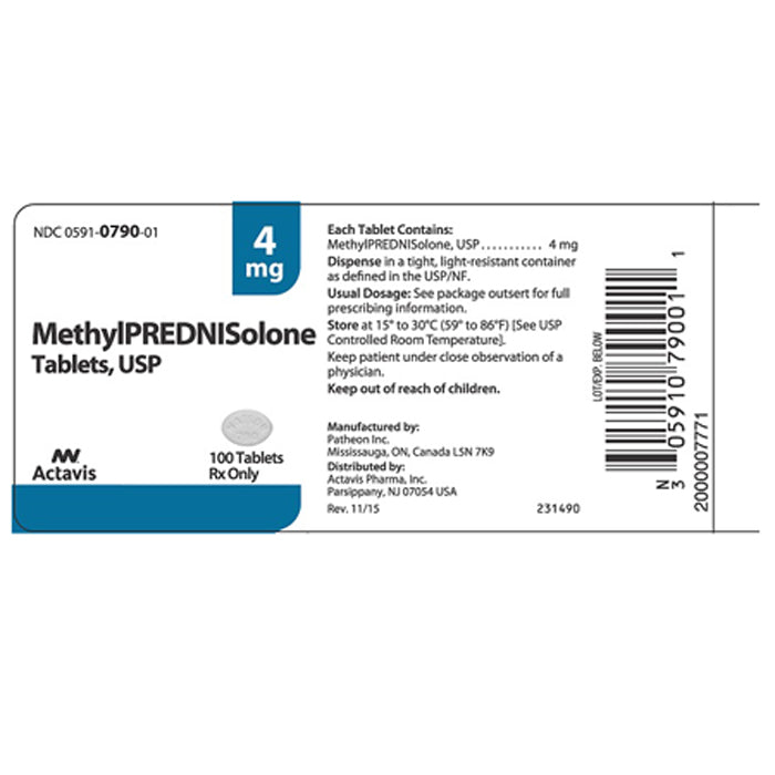 Buy Methylprednisolone 4mg, 21 Tablets online used to treat Multiple Use Medication - Medical Conditions