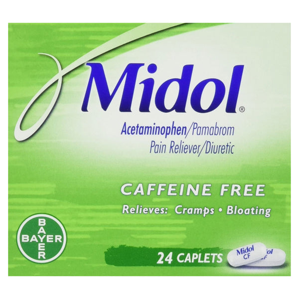 Midol Caffeine Free Pain Reliever for Cramps and Bloating, 24 Caps