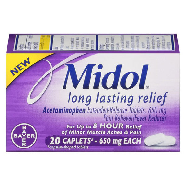Midol Long Lasting Relief Pain Reliever, 8-Hour Relief, 20 Caplets